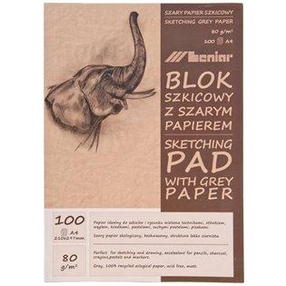 BLOK SZKICOWNIK A4/100K SZARY 80G LEN 90853